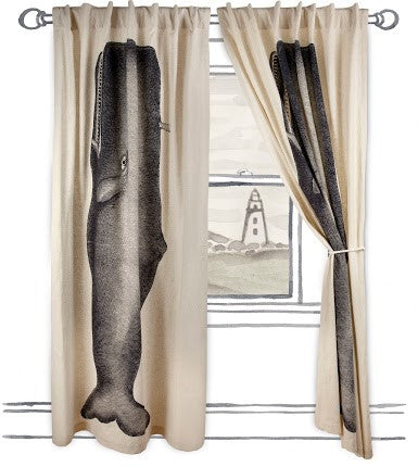 Moby Window Curtain in Ink design by Thomas Paul