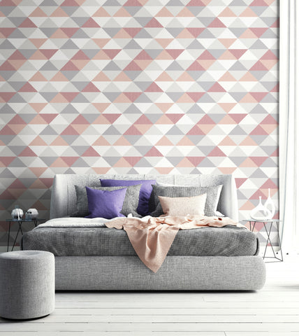 Mod Triangle Peel-and-Stick Wallpaper in Pink and Grey by NextWall