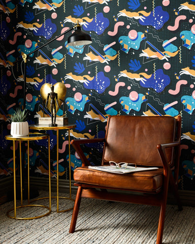 Modern Foxy Wallpaper in Dark from the Wallpaper Compendium Collection by Mind the Gap