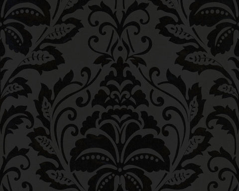 Modern Damask Wallpaper in Black and White design by BD Wall