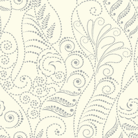 Modern Fern Wallpaper in Silver on White from the Breathless Collection by Candice Olson for York Wallcoverings