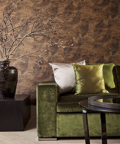 Modern Nature Wallpaper in Brown and Black from the Loft Collection by Burke Decor