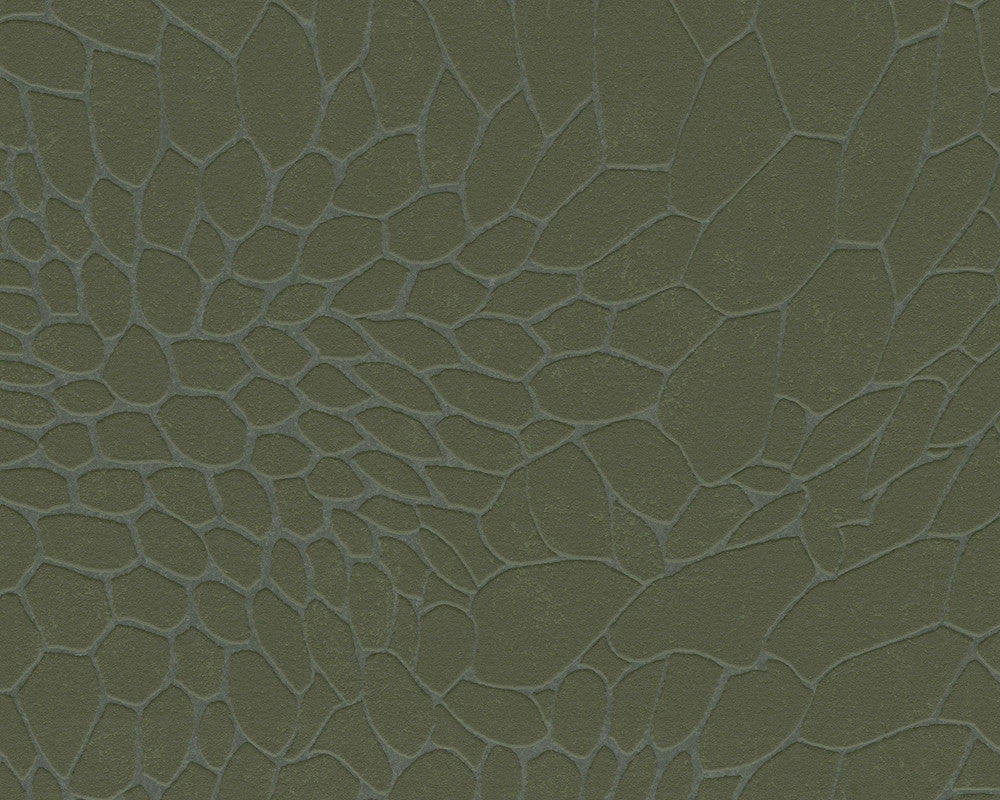 Modern Stone Wallpaper in Neutrals and Green design by BD Wall