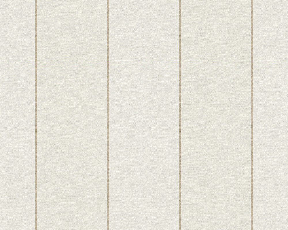 Sample Modern Stripes Large Wallpaper in Cream and Metallic design by BD Wall