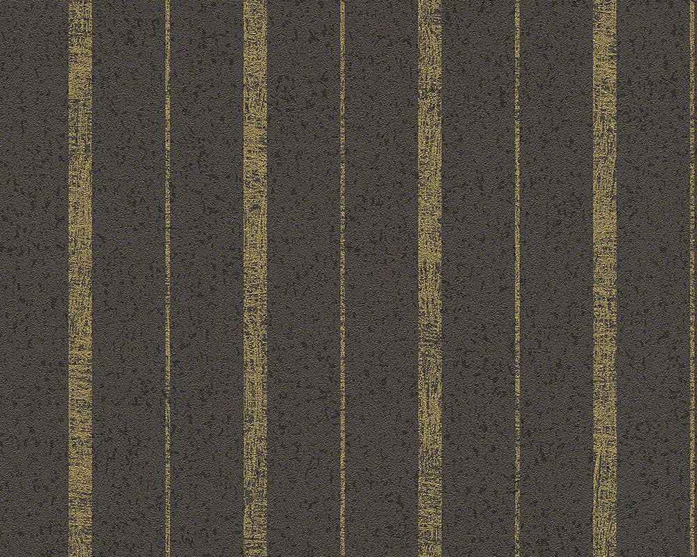 Sample Modern Stripes Wallpaper in Brown and Gold design by BD Wall