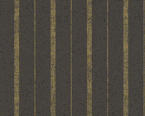 Modern Stripes Wallpaper in Brown and Gold design by BD Wall