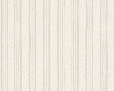 Modern Stripes Wallpaper in Cream design by BD Wall