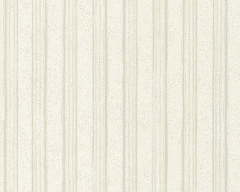 Modern Stripes Wallpaper in Ivory and Beige design by BD Wall