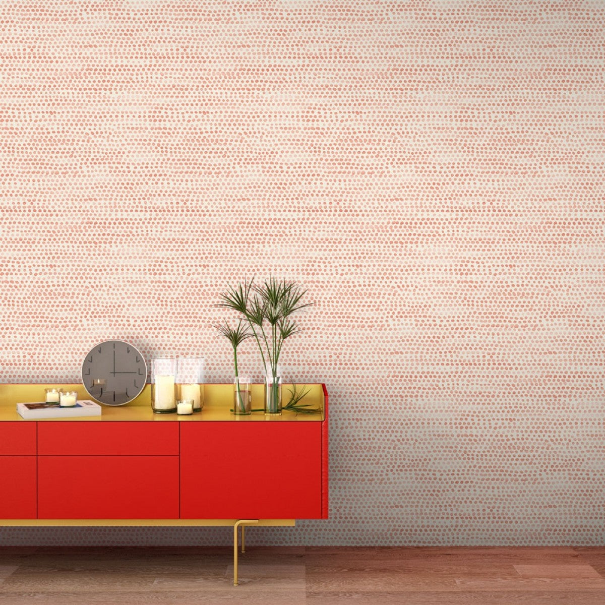 Moire Dots Self Adhesive Wallpaper In Coral Design By