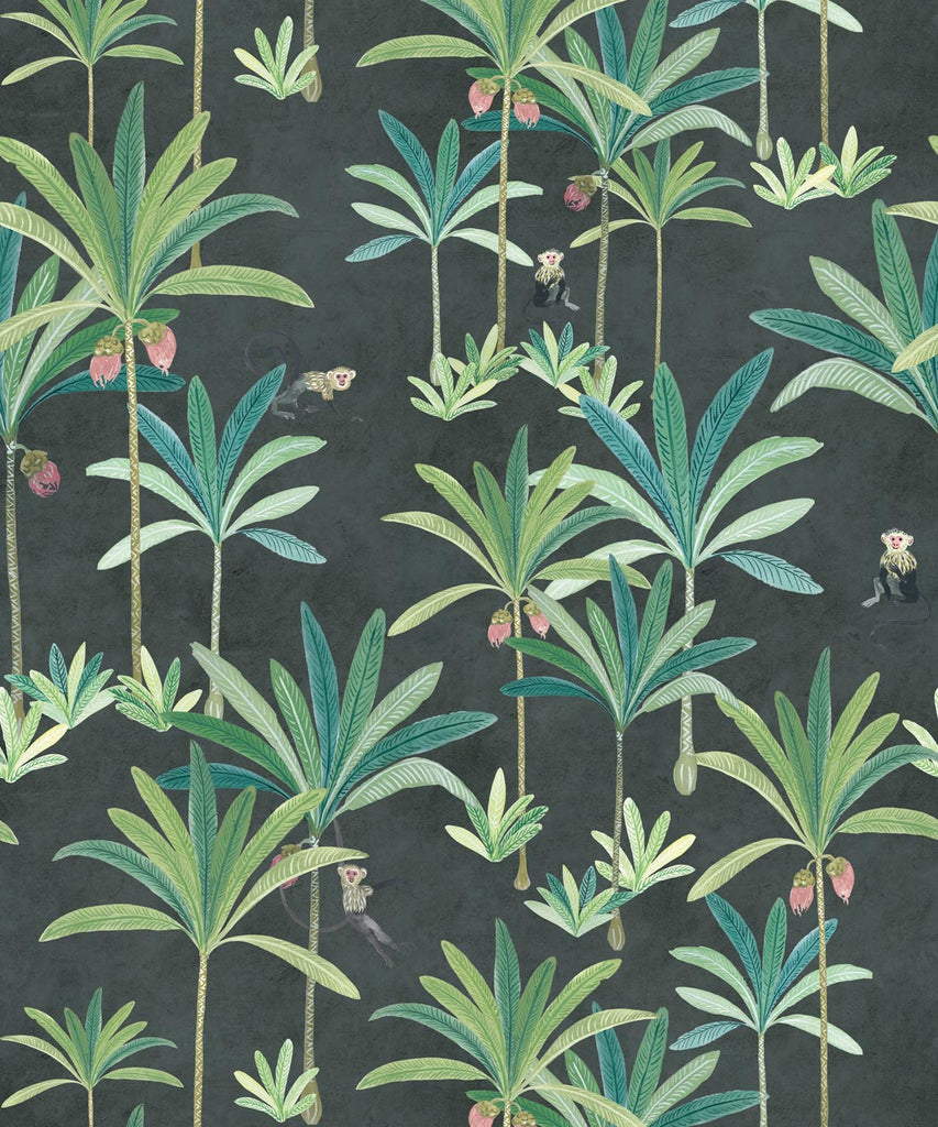 Sample Monkey Palms Wallpaper in Charcoal by Bethany Linz for Milton & King