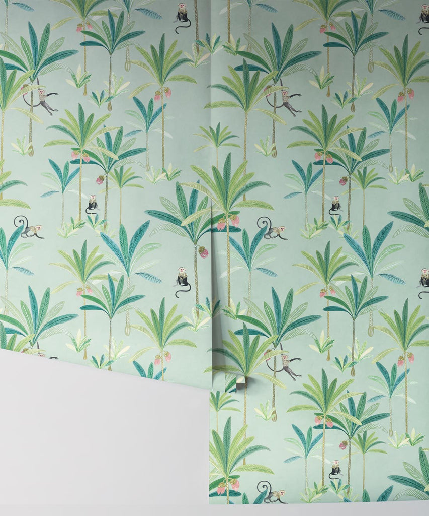 Monkey Palms Wallpaper in Sea Spray by Bethany Linz for Milton & King
