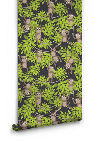 Monkey Wall Wallpaper in Green by Muffin & Mani for Milton & King