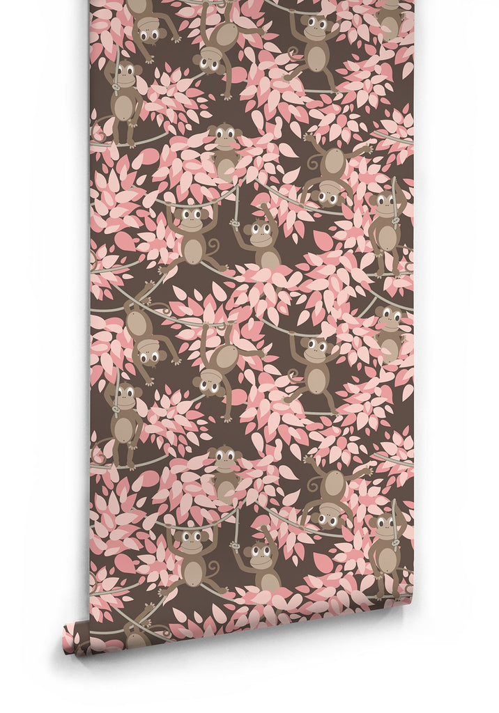 Monkey Wall Wallpaper in Pink by Muffin & Mani for Milton & King