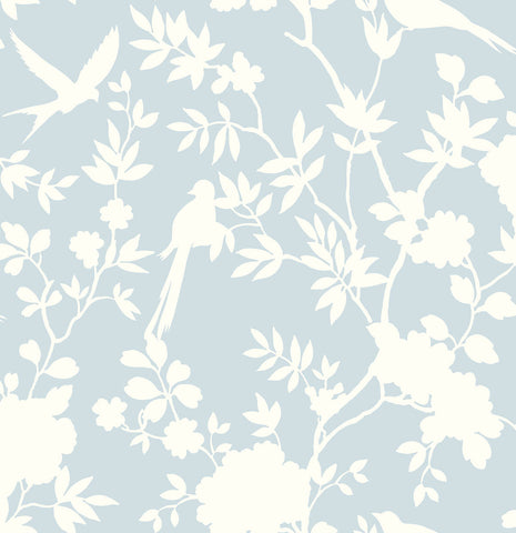 Mono Toile Peel-and-Stick Wallpaper in Hampton Blue from the Luxe Haven Collection by Lillian August