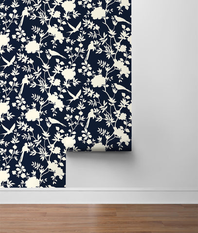Mono Toile Peel-and-Stick Wallpaper in Midnight Blue from the Luxe Haven Collection by Lillian August