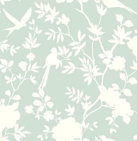 Mono Toile Peel-and-Stick Wallpaper in Seaglass from the Luxe Haven Collection by Lillian August