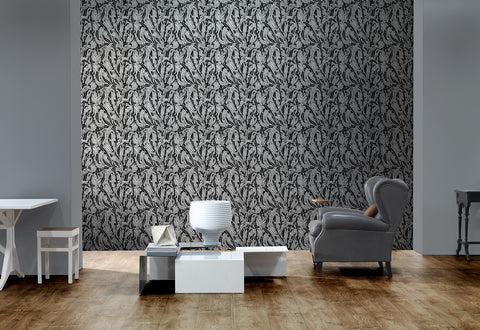 Monochrome Leaves Wallpaper in Blue by Mr. and Mrs. Vintage for NLXL Lab
