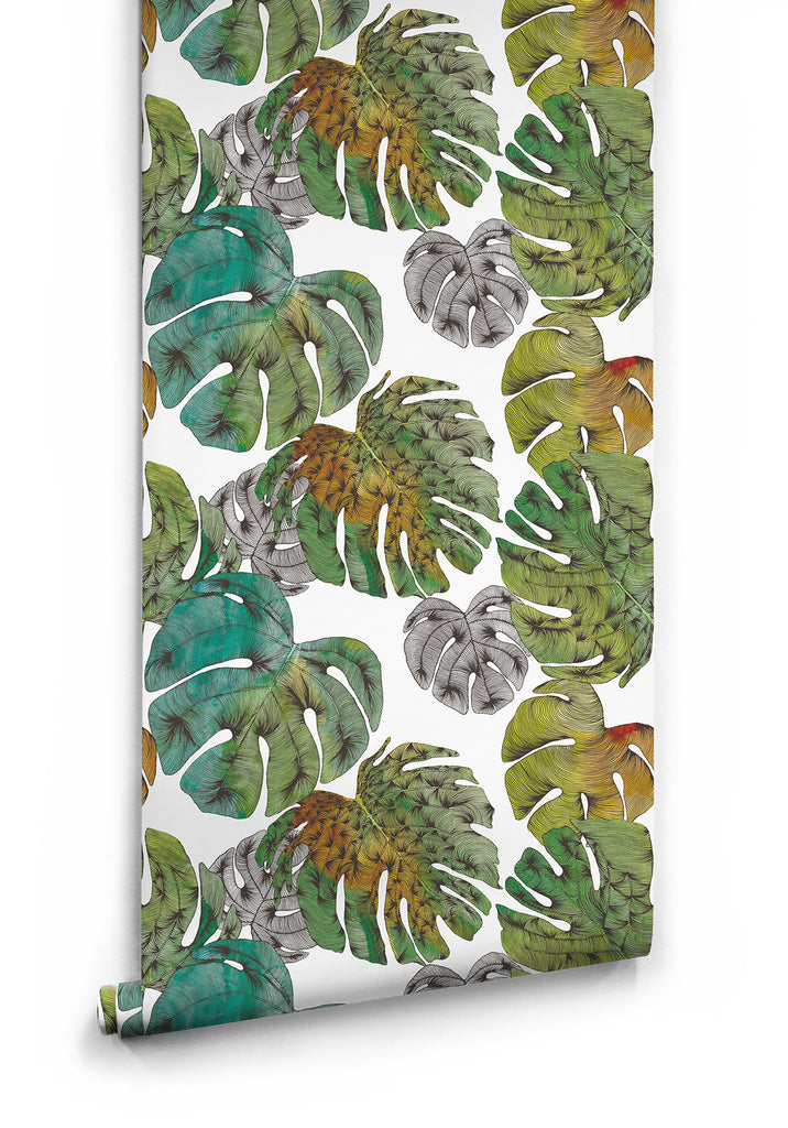 Monstera Boutique Wallpaper in Clear Bleu by Milton & King