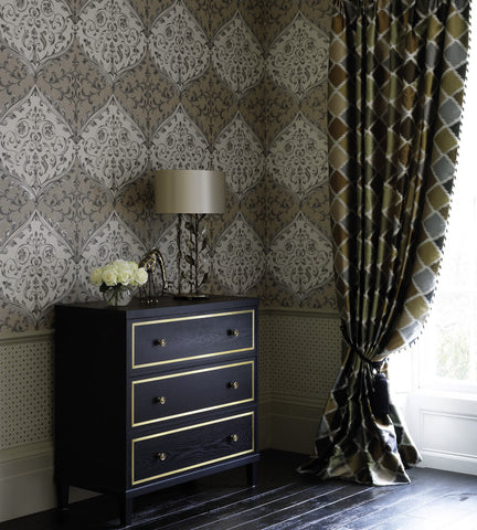Montrose Wallpaper in Black and Gold by Nina Campbell for Osborne & Little