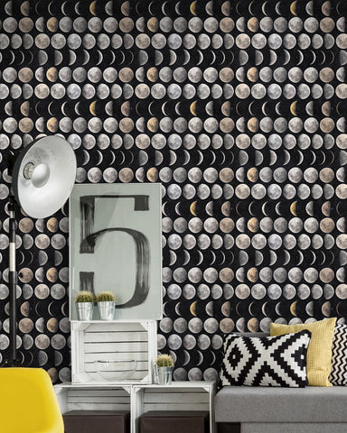 Moon Phases Wallpaper in Black and Grey from the Eclectic Collection by Mind the Gap