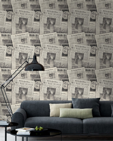 Moonwalker Wallpaper in Black from the Eclectic Collection by Mind the Gap