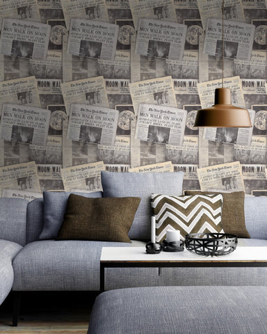 Moonwalker Wallpaper in Grey and Taupe from the Eclectic Collection by Mind the Gap