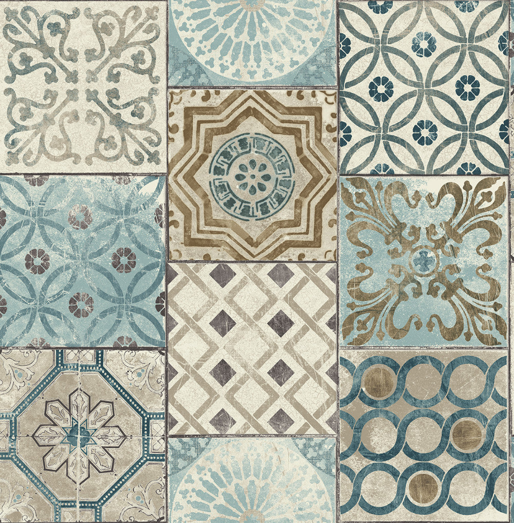 Moroccan Tile Peel And Stick Wallpaper In Neutrals And Greys