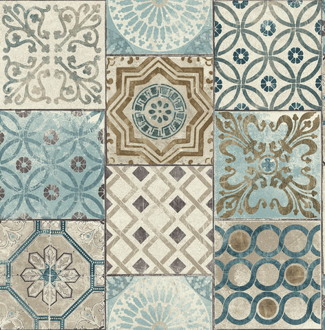 Moroccan Tile Peel-and-Stick Wallpaper in Neutrals and Greys by NextWall