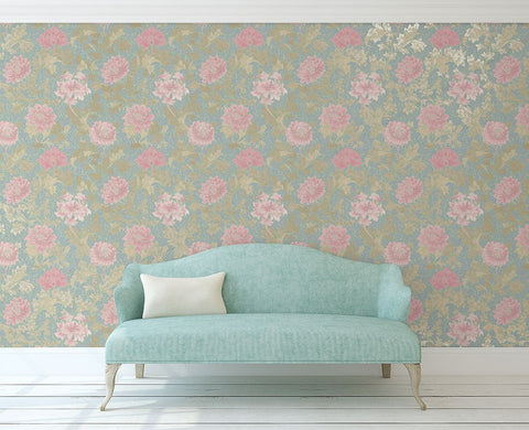 Morrissey Flower Wallpaper in Thunderbird from the Sanctuary Collection by Mayflower Wallpaper