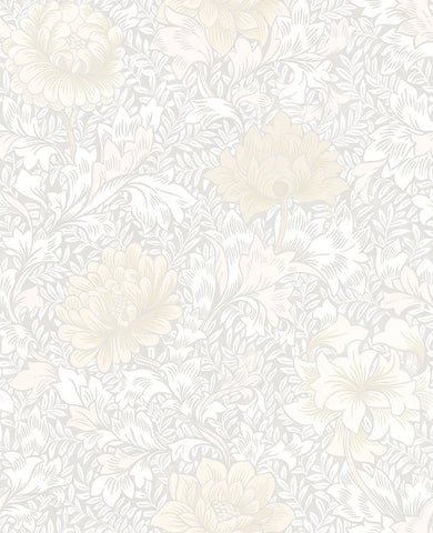 Morrissey Flower Wallpaper in Frost from the Sanctuary Collection by Mayflower Wallpaper