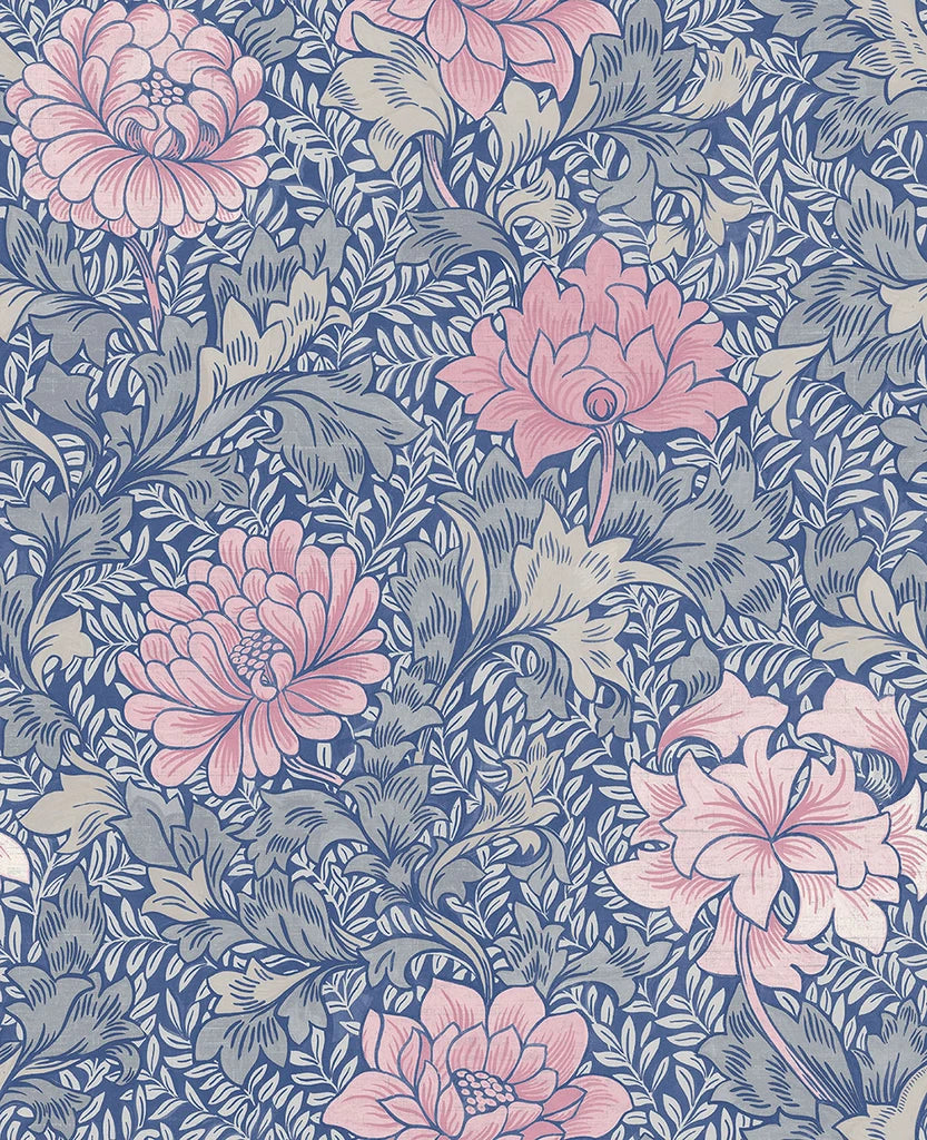 Sample Morrissey Flower Wallpaper in Mixed Berry from the Sanctuary Collection by Mayflower Wallpaper