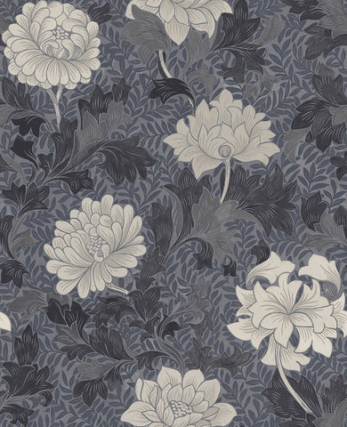 Morrissey Flower Wallpaper in Pewter from the Sanctuary Collection by Mayflower Wallpaper