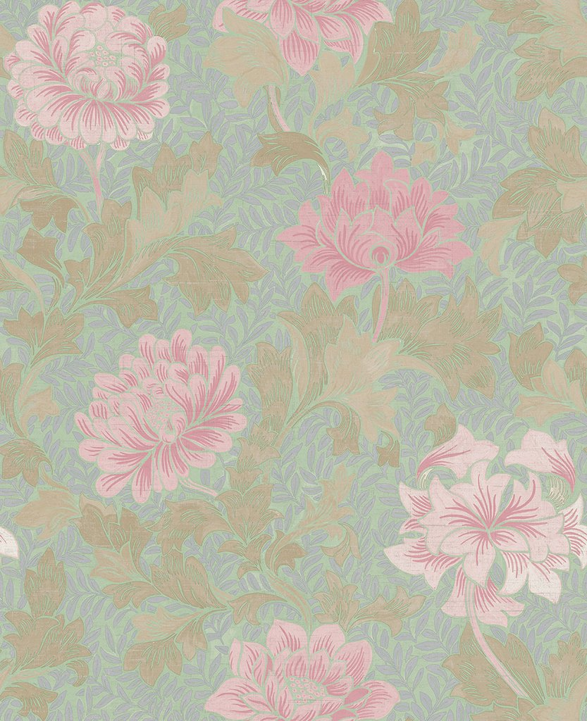 Sample Morrissey Flower Wallpaper in Thunderbird from the Sanctuary Collection by Mayflower Wallpaper