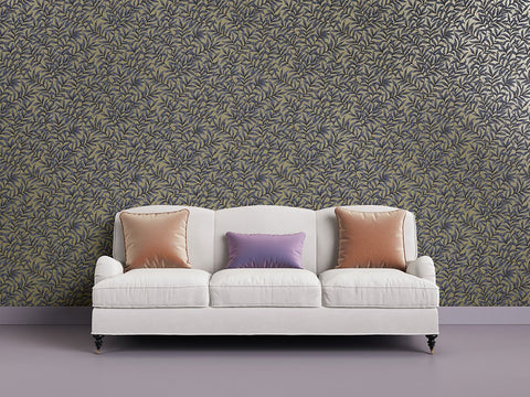 Morrissey Leaf Wallpaper in Plum from the Sanctuary Collection by Mayflower Wallpaper