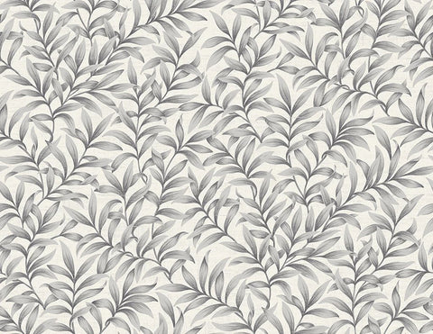 Morrissey Leaf Wallpaper in Pewter from the Sanctuary Collection by Mayflower Wallpaper
