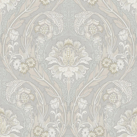 Morrissey Wallpaper in Platinum from the Sanctuary Collection by Mayflower Wallpaper