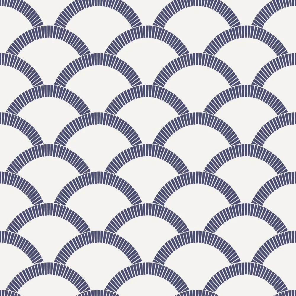 Mosaic Scallop Self-Adhesive Wallpaper (Single Roll) in Navy and Parchment by Tempaper