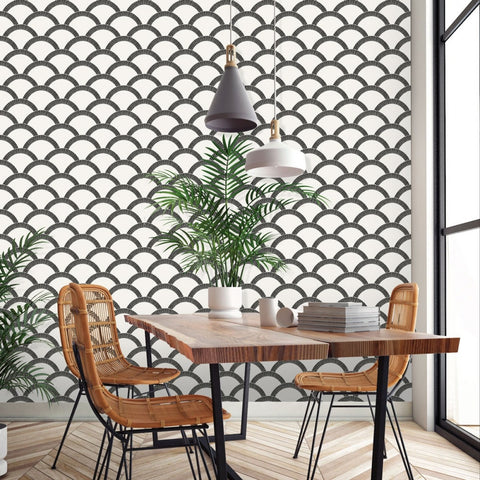 Mosaic Scallop Self-Adhesive Wallpaper in Black & Cream design by Tempaper