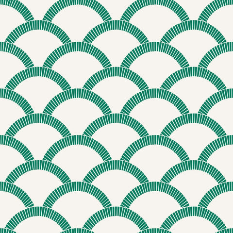 Mosaic Scallop Self-Adhesive Wallpaper in Emerald Green design by Tempaper