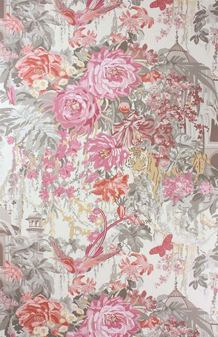 Mughal Garden Wallpaper in Old Rose and Grey by Matthew Williamson for Osborne & Little