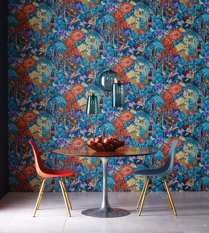 Mughal Garden Wallpaper in Blue and Gilver by Matthew Williamson for Osborne & Little