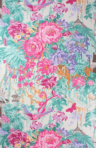 Mughal Wallpaper in Garden Pink and Lilac by Matthew Williamson for Osborne & Little