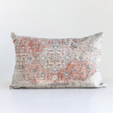 Multi-Color Distressed Print Lumbar Pillow