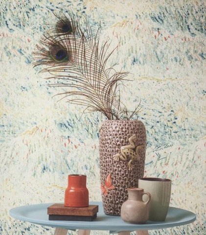 Multicolor Textured Wallpaper in Electric Kiwi from the Van Gogh Collection by Burke Decor