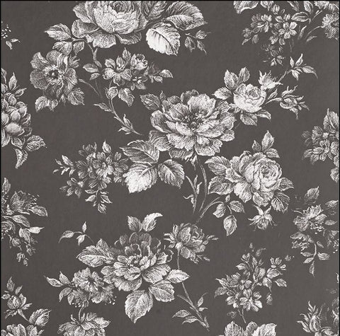 Muse Wallpaper in Noir from the Exclusives Collection by Graham & Brown
