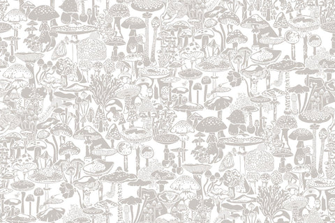 Mushroom City Wallpaper in Stone design by Aimee Wilder