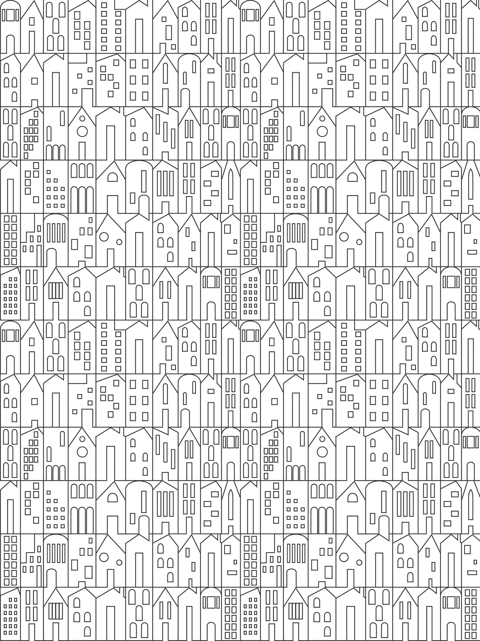 My House Wallpaper in Charcoal by Sissy Marley for Jill Malek