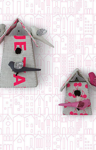 My House Wallpaper in Pink by Marley + Malek Kids