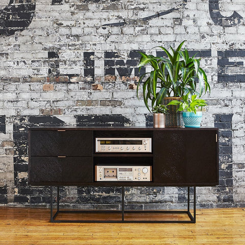 Myles Media Stand in Black Oak by Gus Modern