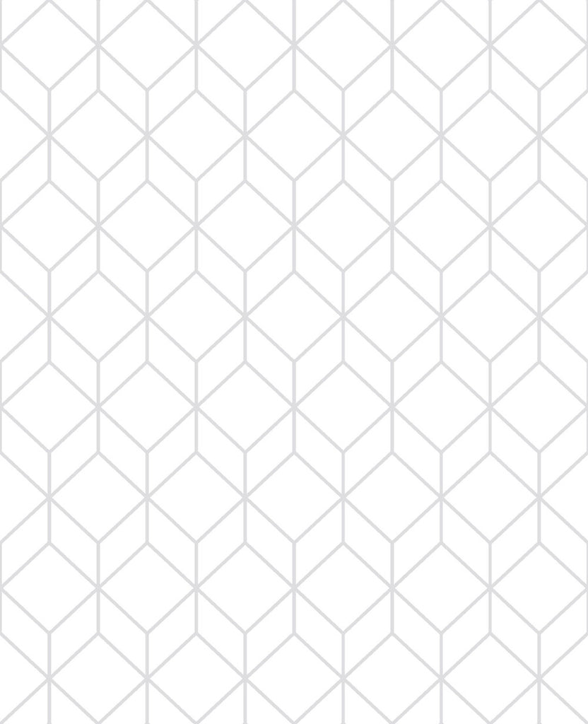 Myrtle Geo Wallpaper in White and Silver from the Empress Collection by Graham & Brown